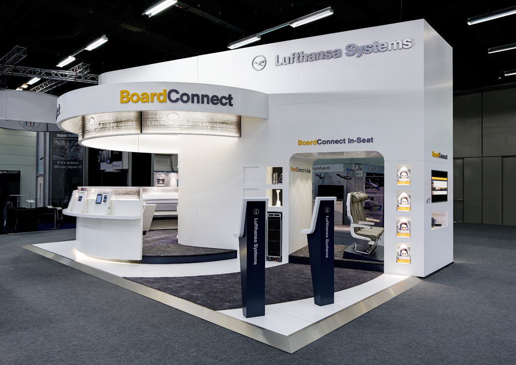 lufthansa systems international exhibition stand 54 m ulla g tz innenarchitektur design. Black Bedroom Furniture Sets. Home Design Ideas